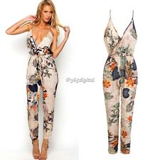 Womens Ladies V Neck Floral Print Strappy Trouser LOOK All in One Jumpsuit Socks