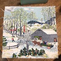 GRANDMA MOSES BARKCLOTH FABRIC VINTAGE SQUARE Springtime on the Farm