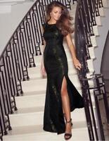 New 12 UK Lipsy Love Michelle Keegan Sequin Gold Black Lace MAXI Long Dress