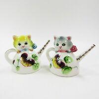 Vintage Salt Pepper Shakers Cat Kittens in Teapots Yellow Gray Japan      INV406