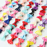 20 PCS Baby Girl's Mixed Colors Ribbon Hair Bow Mini Latch Clips Safe Hair Clip