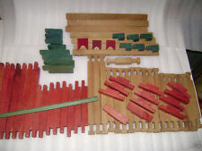 Vintage Antique Lincoln Logs Building Blocks Square Red Green