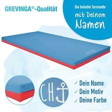 Grevinga®Turnmatte mit Ihrem Wunschnamen (RG120) mit Lederecken + Tragschlaufen