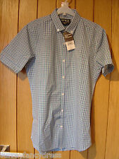 Topman Blue Green Slim Fit Check Shirt Size S Small NEW (tags) RRP £25(Ref Z)