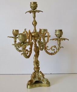 Chandelier Candélabre Ancien Bronze Doré Hauteur 35 cm - Bougeoirs 5 Feux