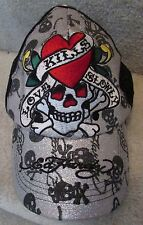 Ed Hardy by Christian Audigier Mesh Trucker Baseball Cap Hat Skull Sparkly