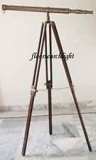 NAUTICAL SOLID BRASS TELESCOPE SPYGLASS 155CM Ht. WITH WOODEN TRIPOD STAND