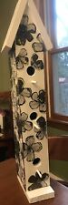 Unique 2 Foot Tall Black And White Handmade Flower Birdhouse-Garden Decor