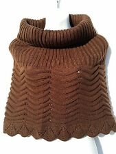 Vivante by VSA Women's Chocolate Brown Knit Cowl Neck Scarf NEW