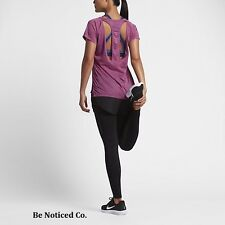 Nike Breathe Women's Short Sleeve Running Top L Gym Purple Casual Training New