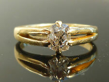 Stunning 18ct gold 0.98ct Old mine cut solitaire diamond Gents ladies ring