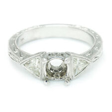 3-Stone Diamond Semi-Mount Engagement Ring Setting with Trilliant's 14K .50ctw