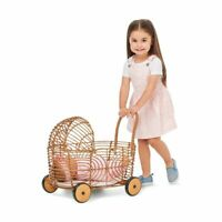 New faux Rattan Baby Doll Pram pretend play toy For Kids Christmas Gift 2020 LF