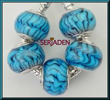 5 Blue Animal Print Beads Fit European Style Jewelry 11 * 14 with 5 mm Hole B015