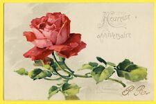 cpa Illustration Litho signée C. KLEIN Fleur Flower ROSE Rouge ANNIVERSAIRE