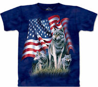 The Mountain American Flag Wolf Proud Wolves Blue Animal Shirt Cotton USA S-3X