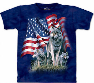 The Mountain American Flag Wolf Proud Wolves Blue Animal Shirt Cotton USA S-XL
