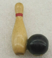 Decorative Collectible Wooden Bowling Pin w/ Ball Souvenir - Used B641