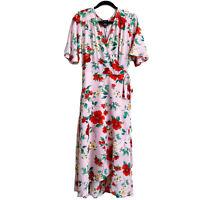 Bobeau Size 1X Printed Flutter Sleeve Wrap Midi Dress Floral Summer Pretty NWT