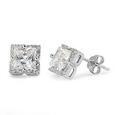 Halo Princess Cut White Cz .925 Sterling Silver Stud Earrings
