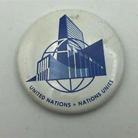 "Vintage United Nations 1-1/2"" Button Pin Pinback Nations Unies  Q9"