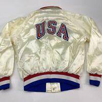 Vintage MVP Jacket Mens XL White Collared Snap Up Satin USA Stanton Ribbed Cuffs