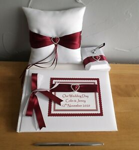 Personalised Guest Book Ring Cushion Pen Set Any Occasion Your Ribbon Colour