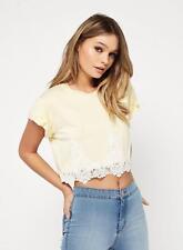 Miss Selfridge Lemon Petite Crochet Hem T-Shirt