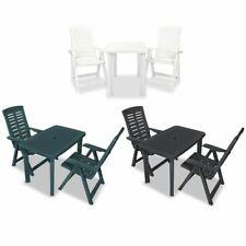 vidaXL Mesa y Sillas de Jardín Plástico Bistro Terraza Blanco/Antracita/Verde