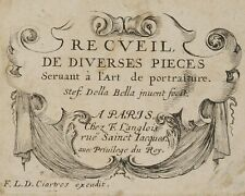 "Stef. DELLA BELLA (1610), Titelkartusche, ""Recueil de div. pieces"", Rad, 17. Jd."