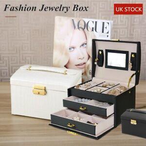 Large Jewellery Box Leather Finish Storage Drawer Cabinet Necklace Organizer Key