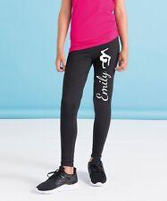 SM064 Girls Personalised Gymnast Black Leggings - Any Name Customised Bottoms