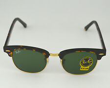 Ray Ban RB3016 Clubmaster W0366 Tortoise Frame/Green G-15 Lens unisex 51MM NEW