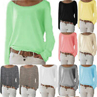 Women Plus Size Pullover Knitted Relaxed Fit Loose Long Sleeve Top Blouse Shirt