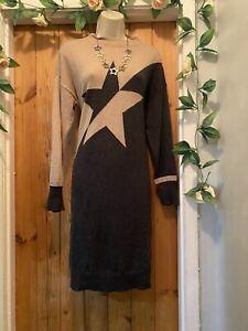 MONSOON COZY FESTIVE STAR WOOL KNIT JUMPER  DRESS SIZE M 12/14