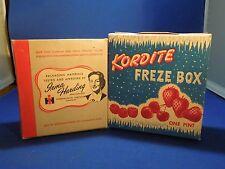 Vintage 1943 Lot of 2 Frozen Food 1 Pint Boxes-Kordite Freze Box & Irma Harding