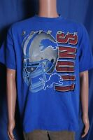 VTG '90s Detroit Lions NFL Football big helmet graphic faded blue t shirt L