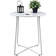 Beistelltisch Gartentisch Ø60xH70cm Balkontisch Terrassentisch rund Weiß