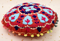 "16"" ETHNIC INDIAN ROUND CUSHION PILLOW THROW COVER SUZANI Embroidery Decor Art"