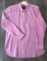 Women's Size 12 Pink Linen Cotton Relaxed Summer Shirt By Saffron Finch