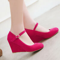 Women Pumps Ankle Strappy Sexy Wedge High Heel Dress Party Wedding Sandals Shoes