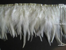 Hackle feather fringe of ivory color 1 metre ribbon trim