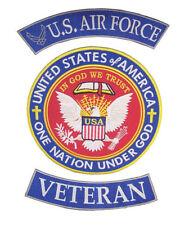 US AIR FORCE VETERAN ROCKERS PATCHES 3 PC SET FOR BIKER MOTORCYCLE JACKET VEST