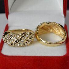 Dolly-Bijoux Bague Grec T54 à 60 Pavé de Rail de Diamant Cz Plaqué Or Signé SL