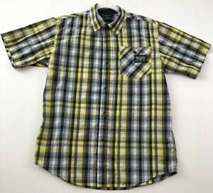 Rocawear Boy's Short Sleeve Button Up Shirt XL 18 20 Yellow Black Plaid Pocket