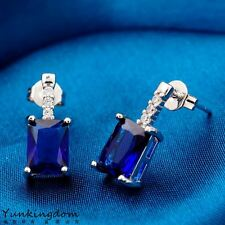 Real Platinum Plated Fashion Blue Cubic Zircon Women Lady Stud Earrings H0303