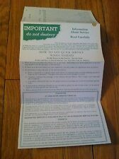 Vintage Oster Information About Authorized Service Information Ephemera  Rare
