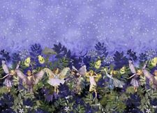 Flower Fairies NIGHT FAIRY Double BORDER Purple Michael Miller Fabric Half-Yard