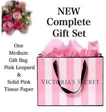 Victoria's Secret (1) MEDIUM GIFT BAG PINK & BLACK & LEOPARD & PINK TISSUE PAPER