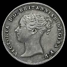 1843 Queen Victoria Young Head Silver Fourpence / Groat